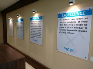 Sintex Values at Training Hall Entrance